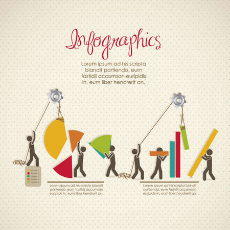 Infographics, building with bars silhouettes, vector illustration Vector