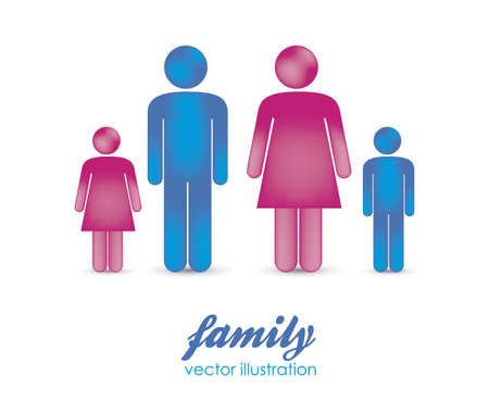 Illustration of silhouettes of people that make a family, vector illustration Vector