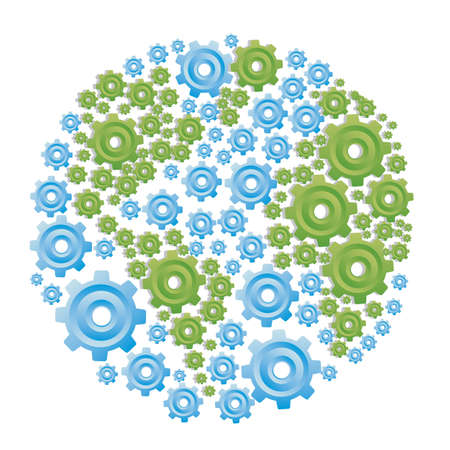 illustration of planet earth made with gears, isolated on white background, vector illustration Vector