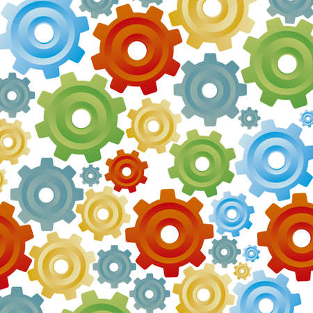 illustration of color gears on white background, sequence, order, vector illustration Vector
