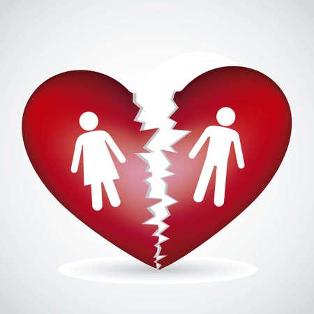 Illustration eines gebrochenen Herzen, isoliert auf weißem Hintergrund, Vektor-Illustration Vektorgrafik