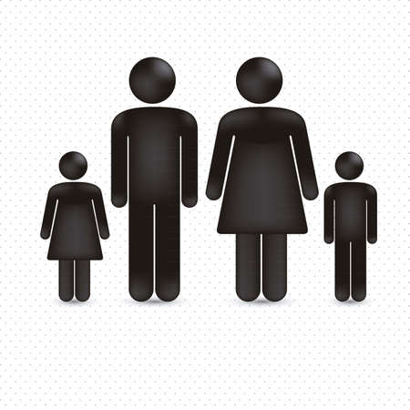 citizens: illustration of a family in 3d, vector illustration Illustration
