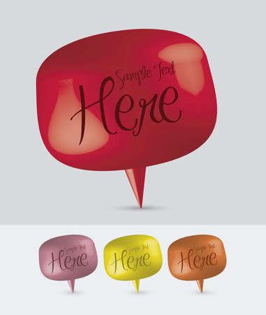 burbujas de pensamiento: ilustraci�n de coloridos globos de texto, 3D, ilustraci�n vectorial