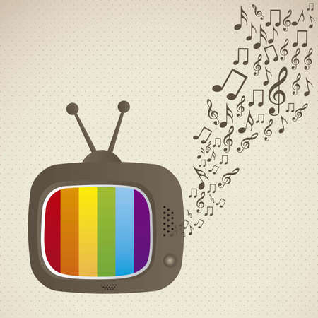illustration of classic television, with musical notes coming out, vector illustration Vector