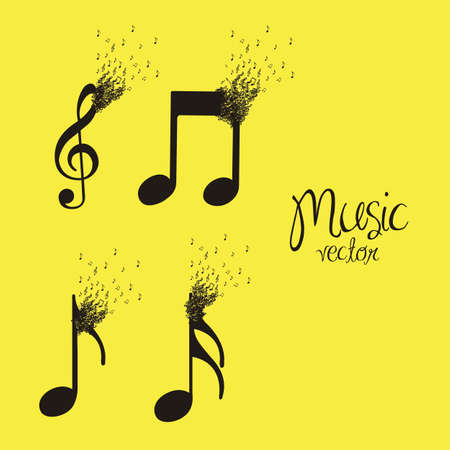 illustration of musical notes forming with small musical notes, vector illustration Vector