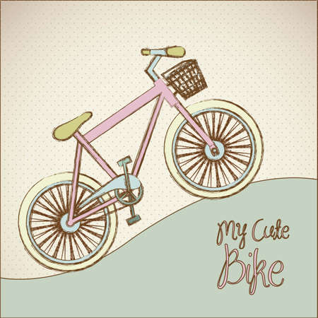 illustration of pastel colored bike, more bike less smog, vector illustration Vector