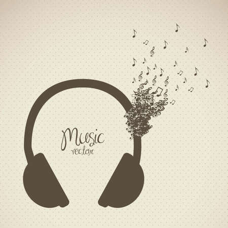 illustration of headphones, formed with small musical notes, vector illustration Stock Vector - 15308963