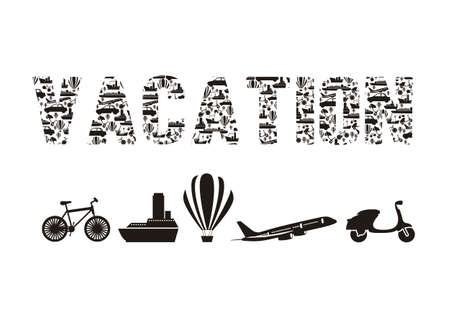 Illustration of the word vacation formed with transportation icons, vector illustration Stock Vector - 15309405