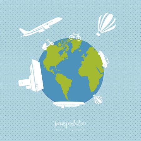 Illustration of transportation icons around the world, vector illustration Stock Vector - 15308984