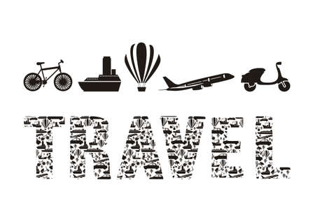 Illustration of the word travel formed with transportation icons, vector illustration Stock Vector - 15309311