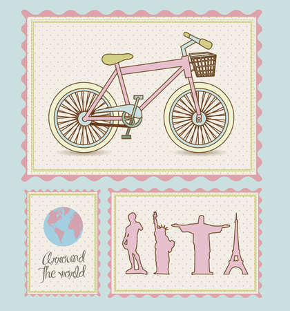 hot tour: postal bike trip, and illustrations of cities arround the world, vector illustration