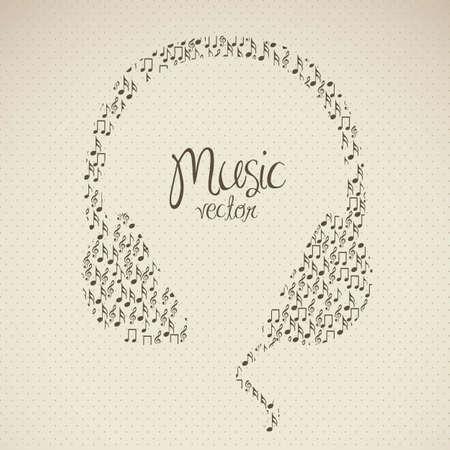 music banner: illustratie van een hoofdtelefoon, gevormd met kleine muzieknoten, vector illustration