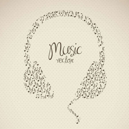 illustration of headphones, formed with small musical notes, vector illustration