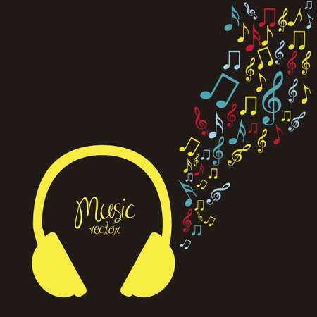illustration of headphones, with small musical notes, vector illustration Vector