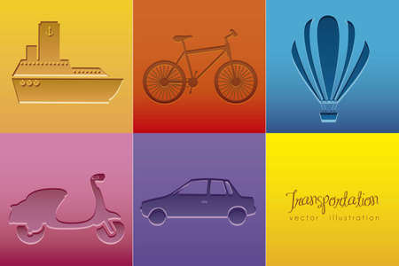 Illustration of transportation icons colored squares vector illustration Stock Vector - 15308899