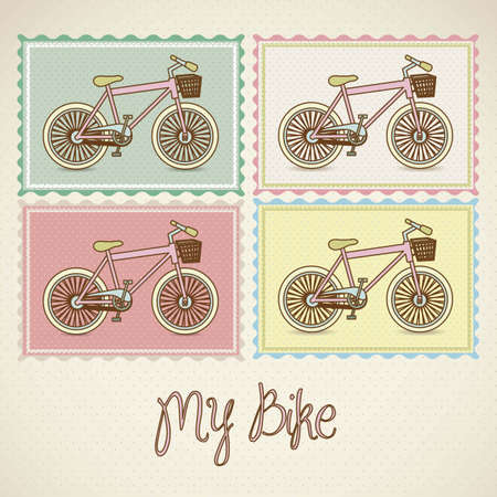 illustration of pastel colored bikes, more bike less smog, vector illustration Vector
