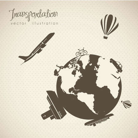 Illustration of transportation icons around the world, vector illustration Vector