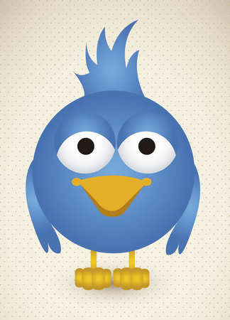 Illustration of blue bird, social networking and communication, vector illustration   Vector