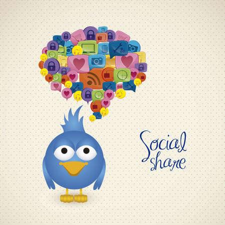 pajaro azul: Ilustraci�n del p�jaro azul con el globo del texto social, las redes sociales y la comunicaci�n, ilustraci�n vectorial
