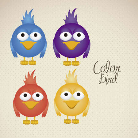 instant message: Illustration of colorful birds, social networking and communication, vector illustration