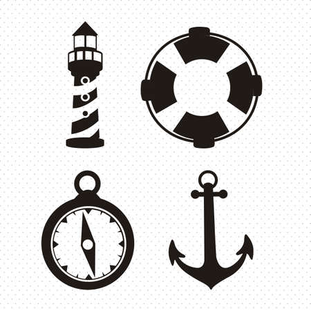 Illustration of icons offshore, anchor, lighthouse, Life Belt, compass, vector illustration Vector
