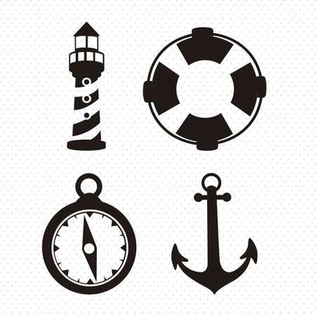 titanic: Illustration of icons offshore, anchor, lighthouse, Life Belt, compass, vector illustration Illustration