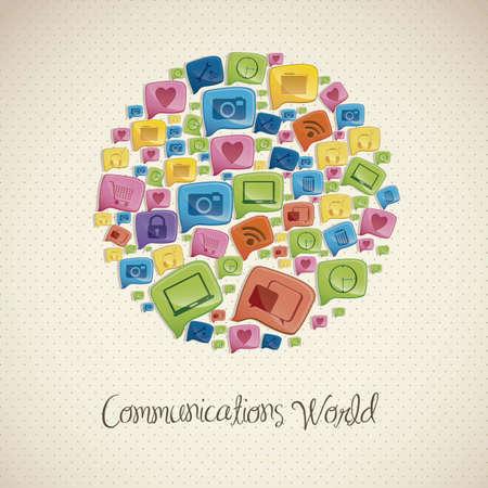 conectividade: Ilustração de ícones de redes sociais, conectividade, networking, partilha, ilustração vetorial