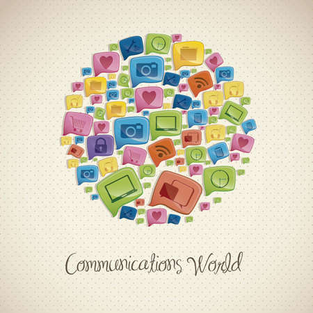 conectividad: Ilustraci�n de los iconos de las redes sociales, conectividad, redes, el intercambio, ilustraci�n vectorial Vectores