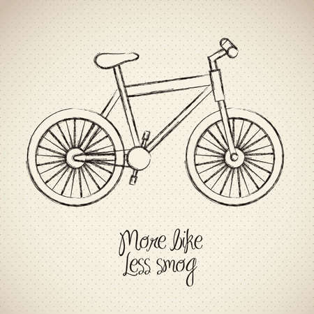 illustration of bike, more bike less smog, vector illustration Vector