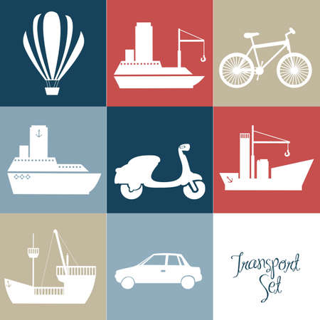 Illustration of transportation icons squares, vector illustration Vector