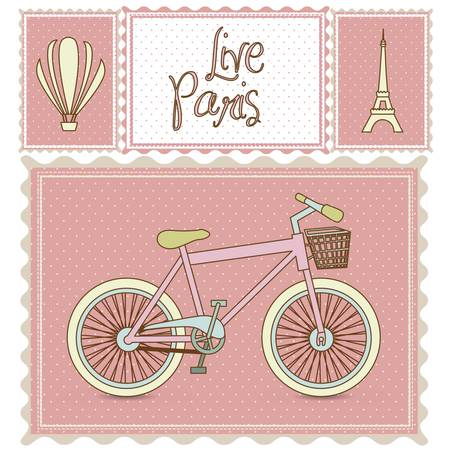 hot tour: postal bike trip, and illustrations of Paris, vector illustration