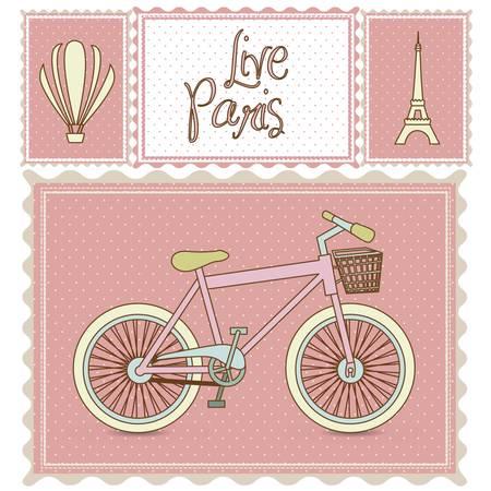 viaje en bicicleta postal, e ilustraciones de París, ilustración vectorial
