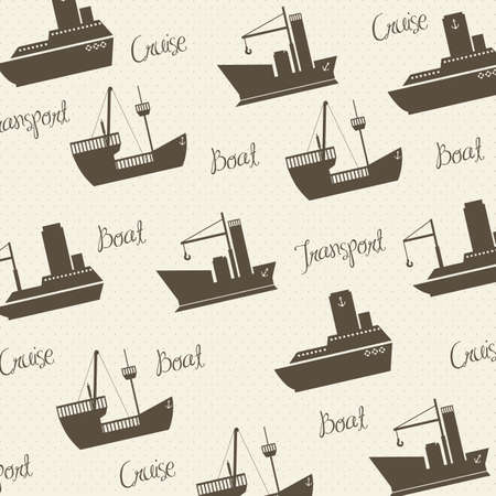 Illustration of boats pattern on white background, vector illustration Vector