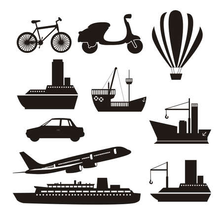 hot air balloon: Illustration of transportation icons, land, air and water, vector illustration Illustration