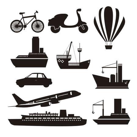 Illustrazione delle icone di trasporto, terreni, aria e acqua, illustrazione vettoriale