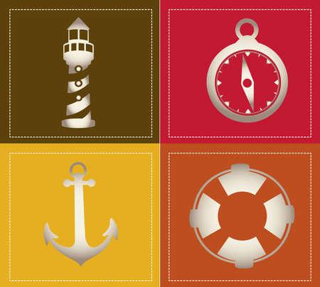 Illustration of icons offshore, anchor, lighthouse, Life Belt, compass, vector illustration Illustration