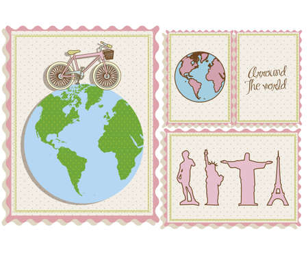 postal bike trip, and illustrations of cities arround the world, vector illustration Vector