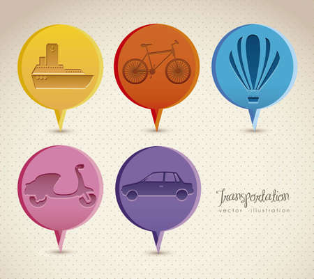 Illustration of transportation icons around the world, vector illustration Stock Vector - 15309057