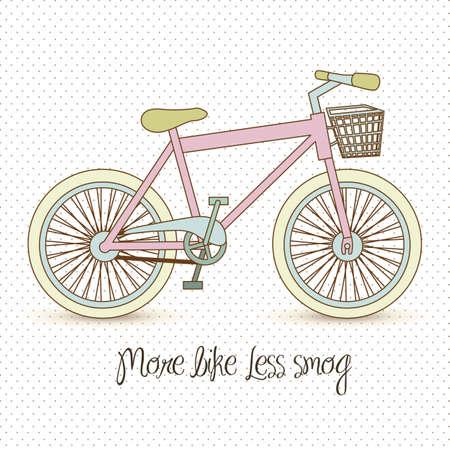 pastel colored: illustration of pastel colored bike, more bike less smog, vector illustration