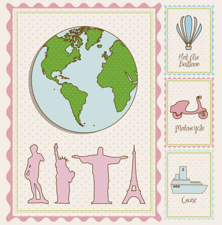 travel stamp illustrations and, and cities around the world,  vector illustration Vector