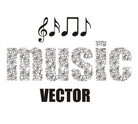 Illustration of musical notes forming music word, music, sound, vector illustration Vector