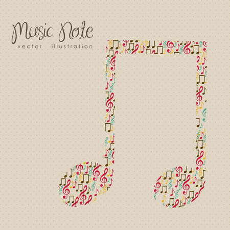 Illustration of musical notes forming a larger note, music, sound, vector illustration Vector