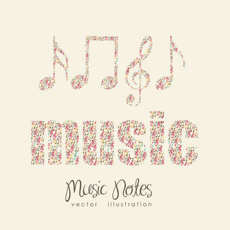 conservatory: Illustration of musical notes forming a  music word, sound, vector illustration
