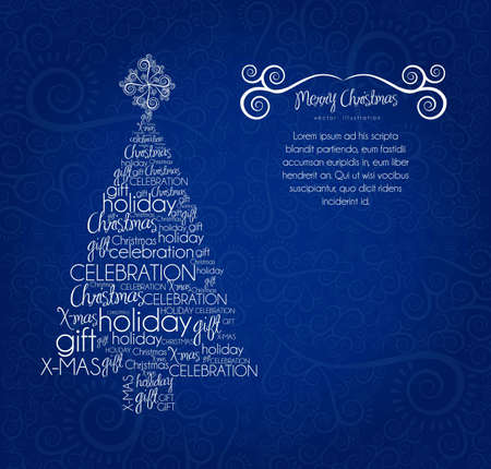 allusive: Christmas tree, made with allusive texts , vector illustration