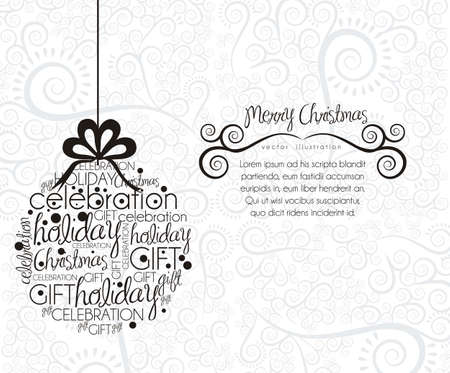 Christmas ball hanging on, made with allusive texts , vector illustration