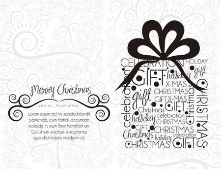 fita: Presente de Natal, feito com textos alusivos, ilustra Ilustra��o