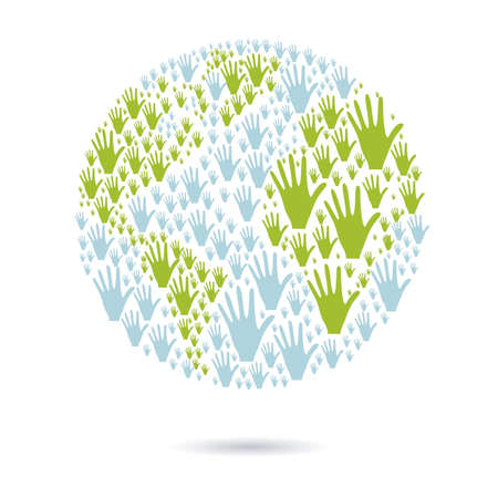 illustration of many color hands, concept of diversity, vector illustration