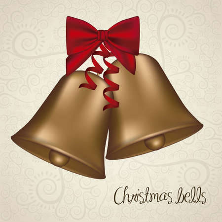 illustration of christmas golden bells with red ribbon, vector illustration Vector