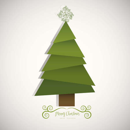 Illustration of christmas tree, made with papers trimmings, vector illustration Vector