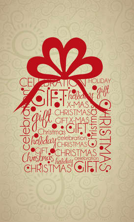 Christmas gift illustration with arabesques and bow, vector illustration Stock Vector - 15355672